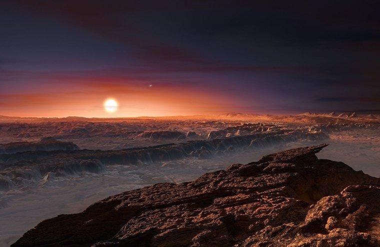 Vista artística de la superfície del planeta Pròxima b orbitant la nana vermella Pròxima Centauri  | ESO/M. Kornmesser