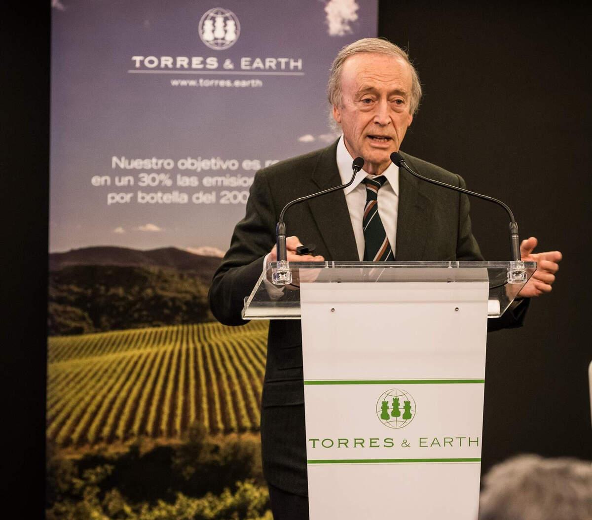 Miguel A. Torres durant l'entrega dels Premis Torres&Earth 2019    Família Torres
