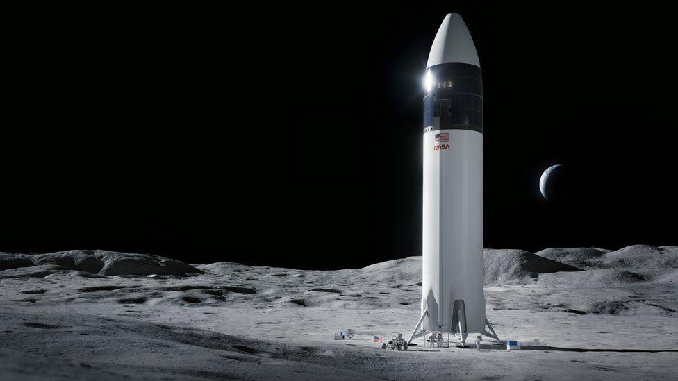 Imatge promocional d'un Starship a la Lluna   SpaceX