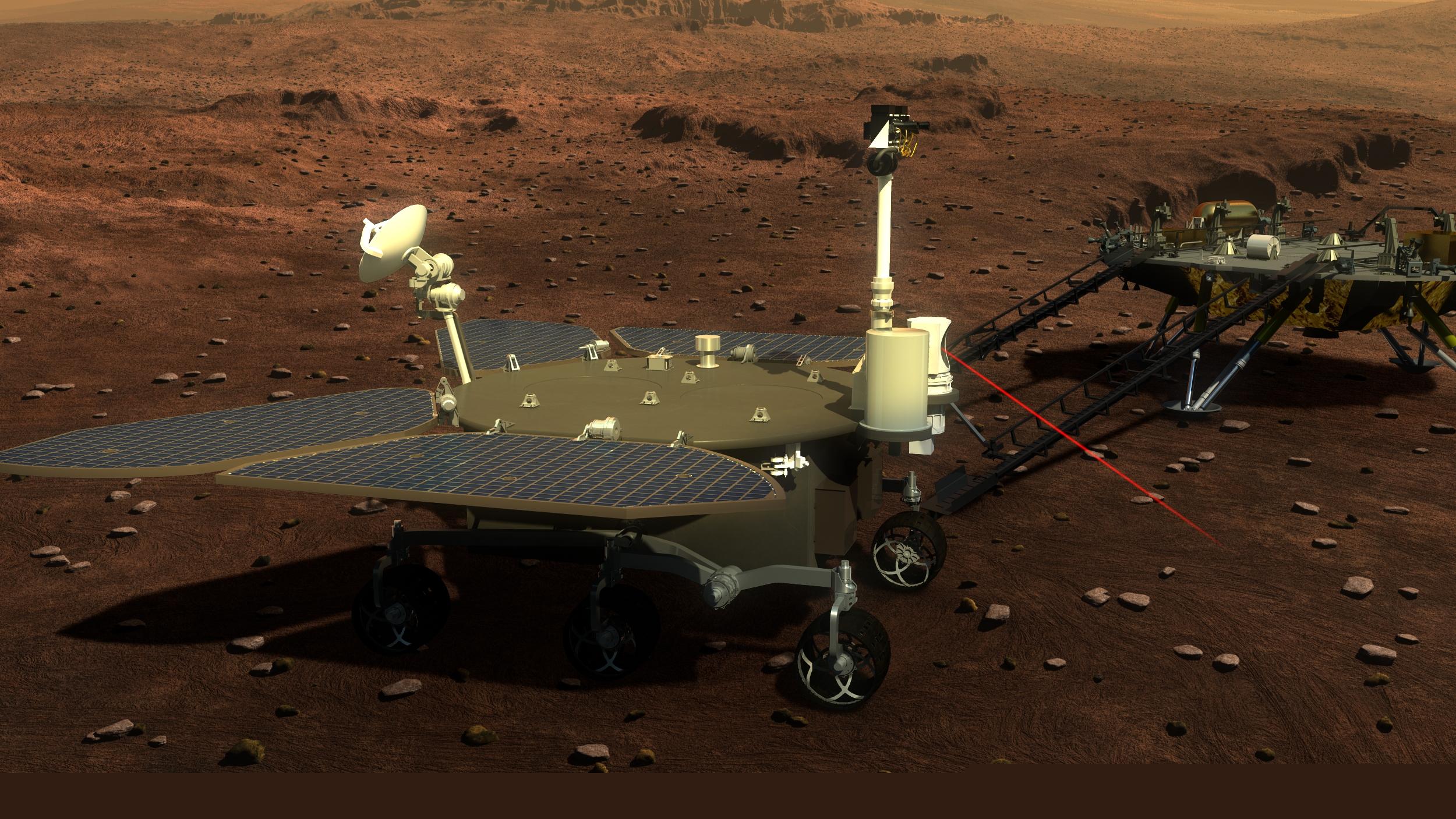 Reproducció artística del vehicle Zhurong explorant la superfície de Mart | Administració Espacial Nacional Xinesa