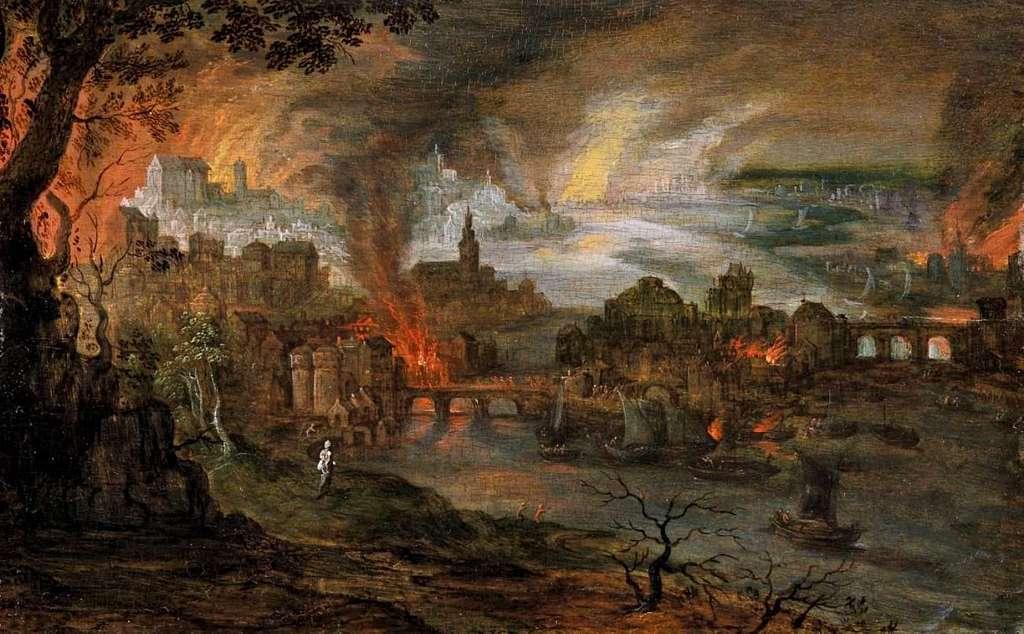 Una altra representació de la destrucció de Sodoma i Gomorra, obra de Pieter Schoubroeck